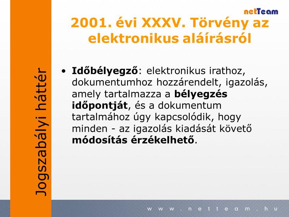 •Időbélyegző: elektronikus irathoz, dokumentumhoz hozzárendelt, igazolás, amely tartalmazza a bélyegzés időpontját, és a dokumentum tartalmához úgy ka