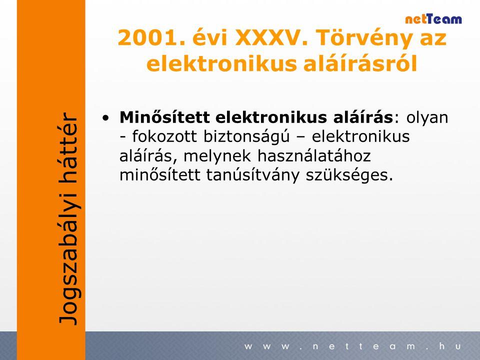 2001. évi XXXV. Törvény az elektronikus aláírásról •Minősített elektronikus aláírás: olyan - fokozott biztonságú – elektronikus aláírás, melynek haszn