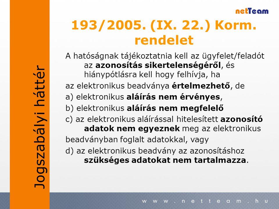 193/2005. (IX. 22.) Korm. rendelet A hatóságnak tájékoztatnia kell az ügyfelet/feladót az azonosítás sikertelenségéről, és hiánypótlásra kell hogy fel
