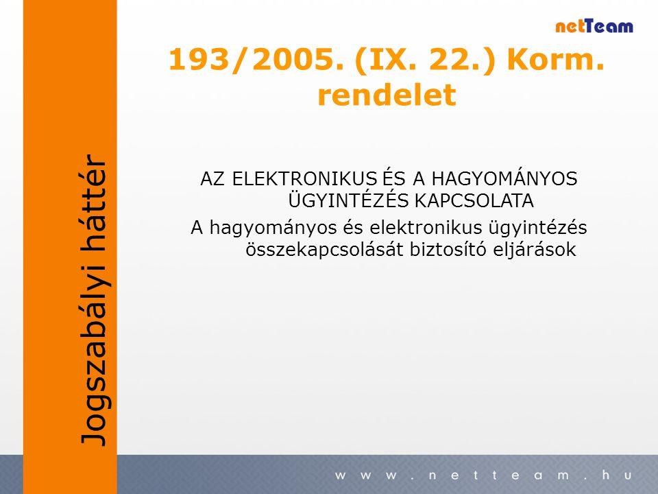 193/2005. (IX. 22.) Korm. rendelet AZ ELEKTRONIKUS ÉS A HAGYOMÁNYOS ÜGYINTÉZÉS KAPCSOLATA A hagyományos és elektronikus ügyintézés összekapcsolását bi