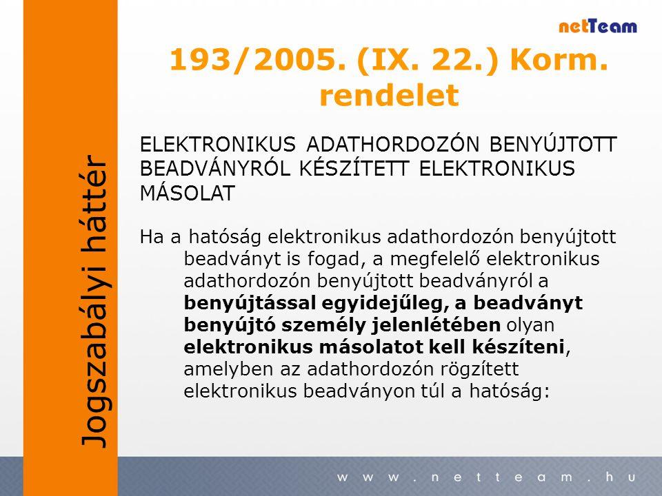 193/2005. (IX. 22.) Korm. rendelet Ha a hatóság elektronikus adathordozón benyújtott beadványt is fogad, a megfelelő elektronikus adathordozón benyújt