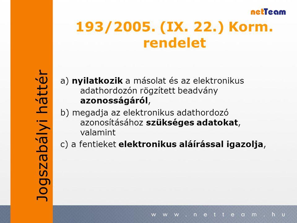 193/2005. (IX. 22.) Korm. rendelet a) nyilatkozik a másolat és az elektronikus adathordozón rögzített beadvány azonosságáról, b) megadja az elektronik