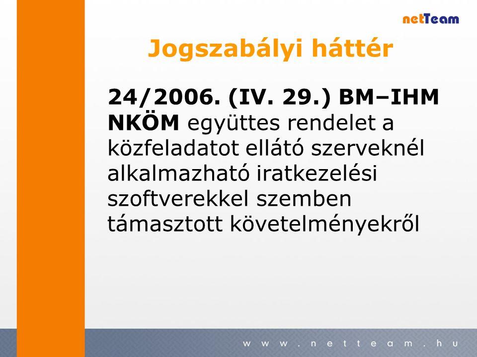 Jogszabályi háttér 24/2006. (IV. 29.) BM–IHM NKÖM együttes rendelet a közfeladatot ellátó szerveknél alkalmazható iratkezelési szoftverekkel szemben t