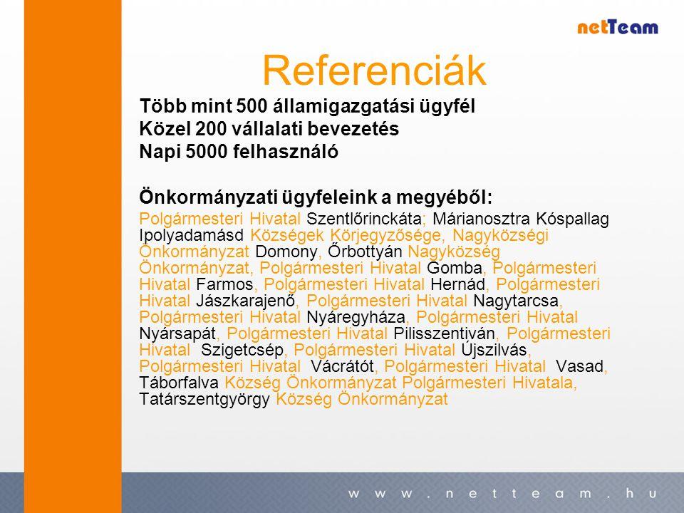 Referenciák Több mint 500 államigazgatási ügyfél Közel 200 vállalati bevezetés Napi 5000 felhasználó Önkormányzati ügyfeleink a megyéből: Polgármester