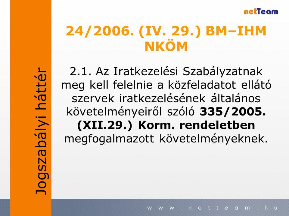 2.1. Az Iratkezelési Szabályzatnak meg kell felelnie a közfeladatot ellátó szervek iratkezelésének általános követelményeiről szóló 335/2005. (XII.29.