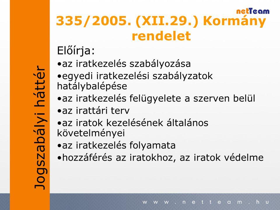 335/2005. (XII.29.) Kormány rendelet Előírja: •az iratkezelés szabályozása •egyedi iratkezelési szabályzatok hatálybalépése •az iratkezelés felügyelet