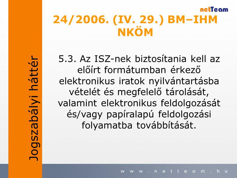 24/2006. (IV. 29.) BM–IHM NKÖM 5.3. Az ISZ-nek biztosítania kell az előírt formátumban érkező elektronikus iratok nyilvántartásba vételét és megfelelő