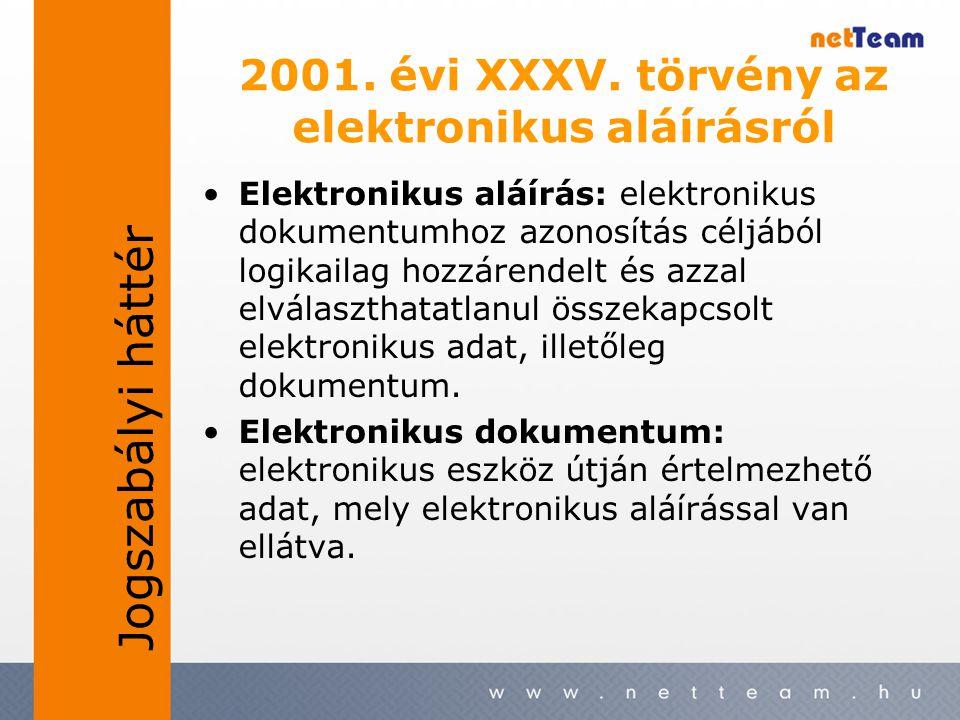 2001. évi XXXV. törvény az elektronikus aláírásról •Elektronikus aláírás: elektronikus dokumentumhoz azonosítás céljából logikailag hozzárendelt és az