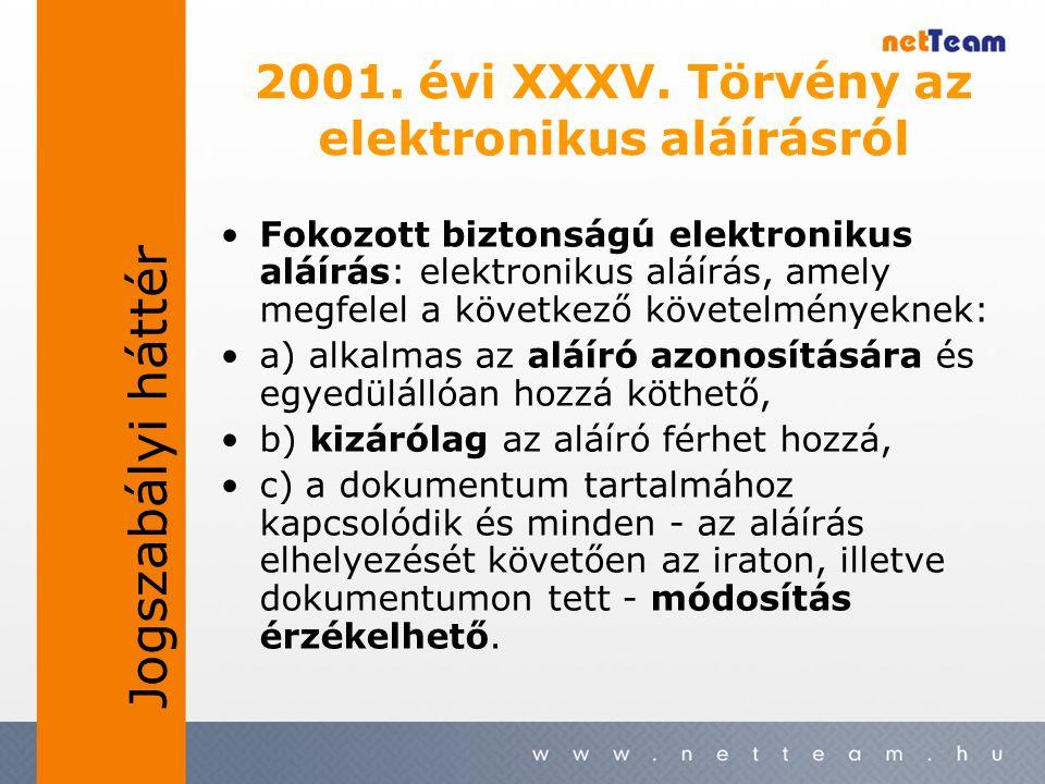 2001. évi XXXV. Törvény az elektronikus aláírásról •Fokozott biztonságú elektronikus aláírás: elektronikus aláírás, amely megfelel a következő követel