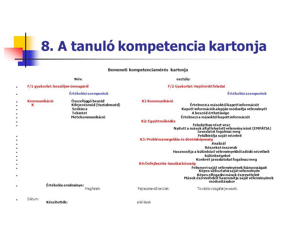 8. A tanuló kompetencia kartonja Bemeneti kompetenciamérés kartonja Név: osztály:  F/1 gyakorlat: beszéljen önmagáról F/2 Gyakorlat: Hajótörött felad