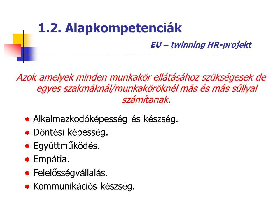 1.2. Alapkompetenciák EU – twinning HR-projekt Azok amelyek minden munkakör ellátásához szükségesek de egyes szakmáknál/munkaköröknél más és más súlly
