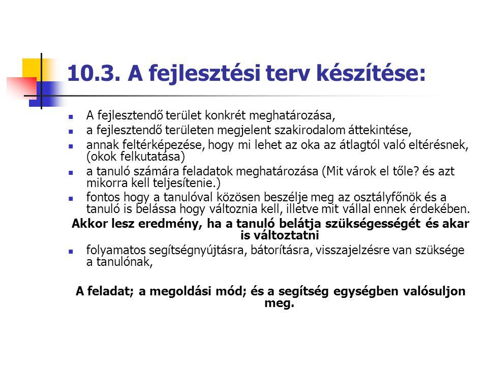 10.3. A fejlesztési terv készítése:  A fejlesztendő terület konkrét meghatározása,  a fejlesztendő területen megjelent szakirodalom áttekintése,  a