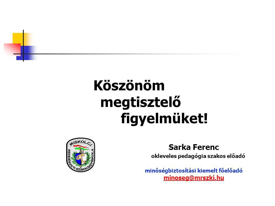 Köszönöm megtisztelő figyelmüket! Sarka Ferenc okleveles pedagógia szakos előadó minőségbiztosítási kiemelt főelőadó minoseg@mrszki.hu