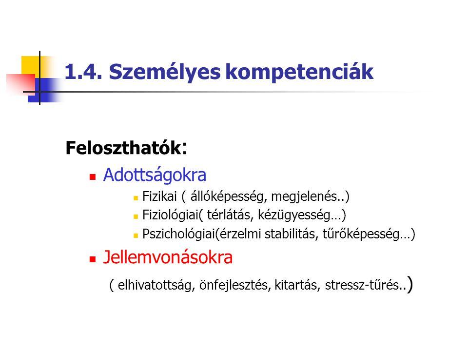 1.4. Személyes kompetenciák Feloszthatók :  Adottságokra  Fizikai ( állóképesség, megjelenés..)  Fiziológiai( térlátás, kézügyesség…)  Pszichológi