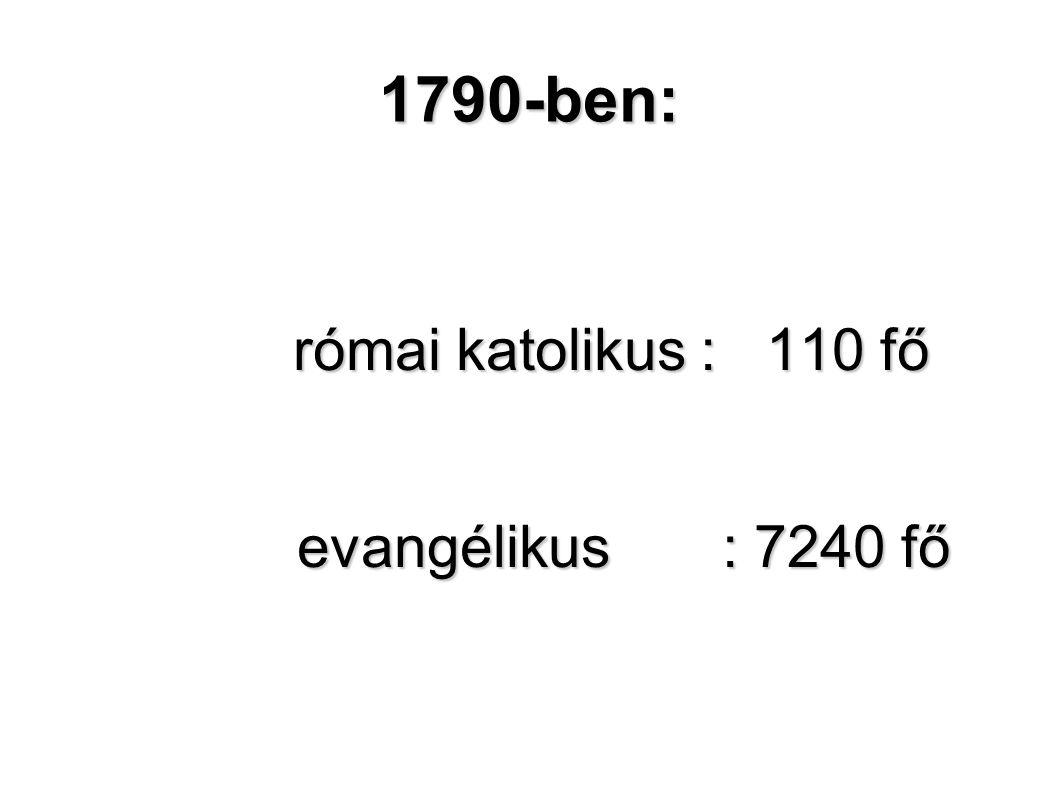 1790-ben: római katolikus : 110 fő evangélikus : 7240 fő evangélikus : 7240 fő