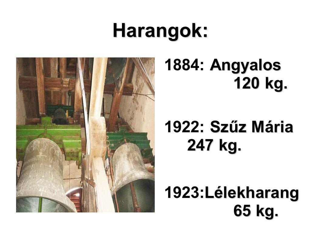 Harangok: Angyalos 120 kg. 1884: Angyalos 120 kg. Szűz Mária 247 kg. 1922: Szűz Mária 247 kg. Lélekharang 65 kg. 1923:Lélekharang 65 kg. Szent László