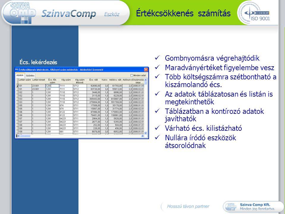 Állományváltozások könyvelése  Tetszőlegesen kialakítható mozgáskód törzs alapján  Tartozékra is lehet könyvelni  Automatikus kontírozás  Automatikus főkönyvi átsorolás  Stornóztatás  A kontírozó adatok módosíthatók Állományváltozások listaablak