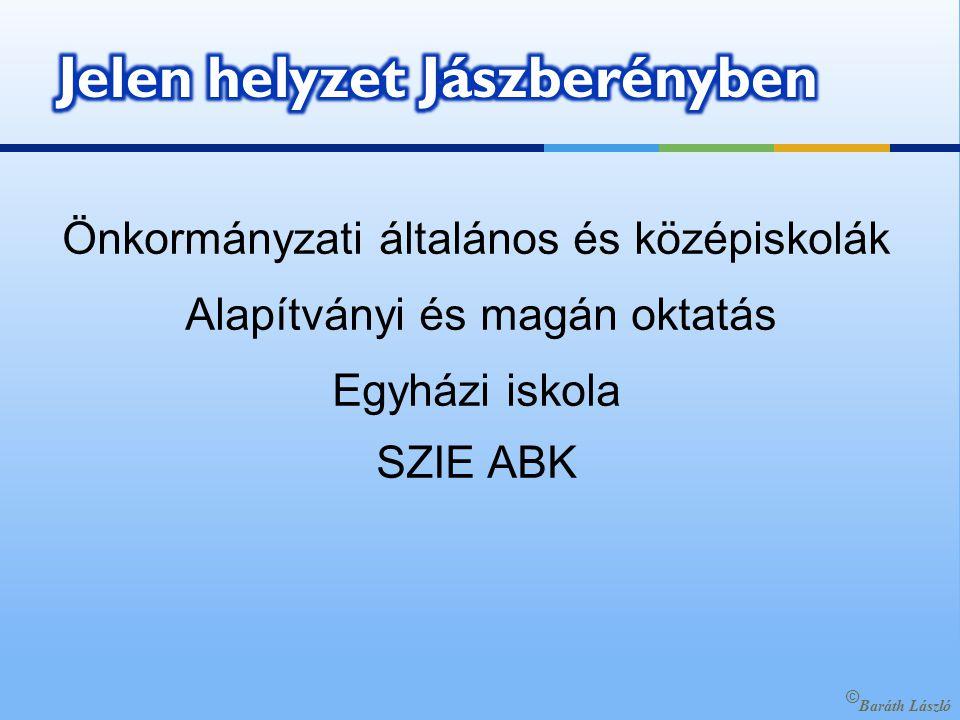 Önkormányzati általános és középiskolák Alapítványi és magán oktatás Egyházi iskola SZIE ABK © Baráth László