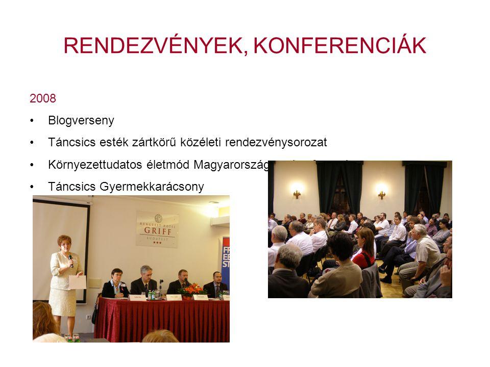 2008 •Blogverseny •Táncsics esték zártkörű közéleti rendezvénysorozat •Környezettudatos életmód Magyarországon- konferencia •Táncsics Gyermekkarácsony RENDEZVÉNYEK, KONFERENCIÁK