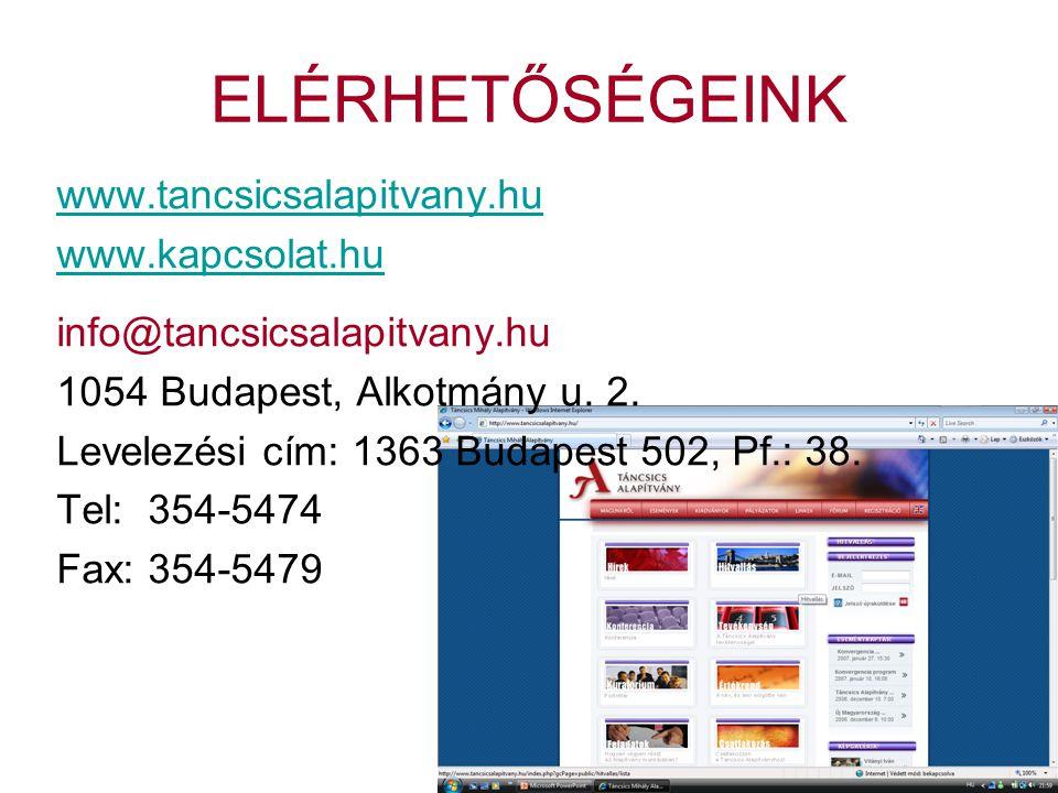 ELÉRHETŐSÉGEINK www.tancsicsalapitvany.hu www.kapcsolat.hu info@tancsicsalapitvany.hu 1054 Budapest, Alkotmány u.