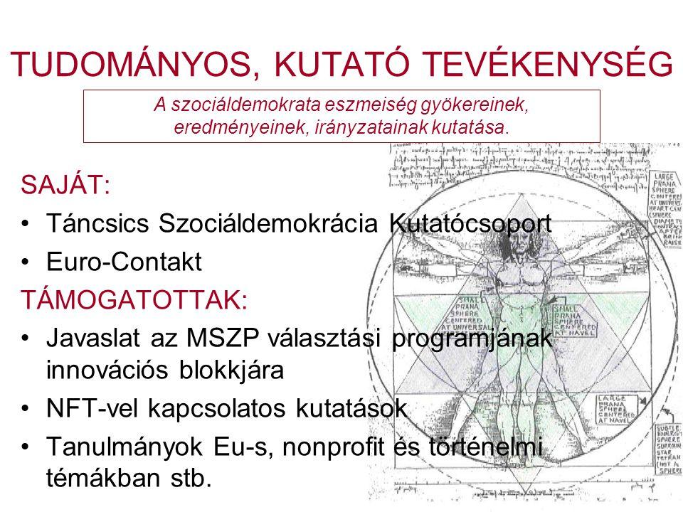 TUDOMÁNYOS, KUTATÓ TEVÉKENYSÉG SAJÁT: •Táncsics Szociáldemokrácia Kutatócsoport •Euro-Contakt TÁMOGATOTTAK: •Javaslat az MSZP választási programjának innovációs blokkjára •NFT-vel kapcsolatos kutatások •Tanulmányok Eu-s, nonprofit és történelmi témákban stb.