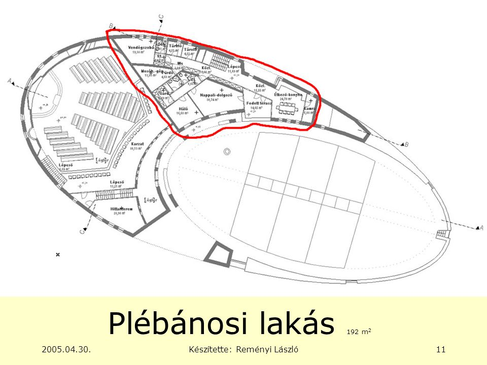 2005.04.30.Készítette: Reményi László11 Plébánosi lakás 192 m 2