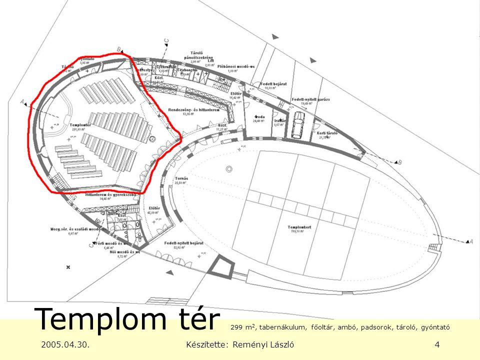 2005.04.30.Készítette: Reményi László4 Templom tér 299 m 2, tabernákulum, főoltár, ambó, padsorok, tároló, gyóntató
