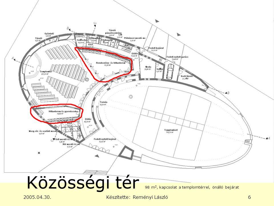 2005.04.30.Készítette: Reményi László6 Közösségi tér 98 m 2, kapcsolat a templomtérrel, önálló bejárat