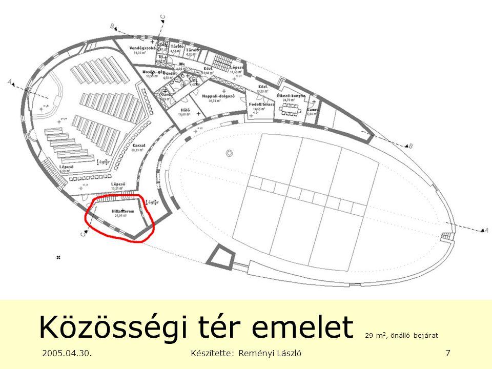 2005.04.30.Készítette: Reményi László7 Közösségi tér emelet 29 m 2, önálló bejárat
