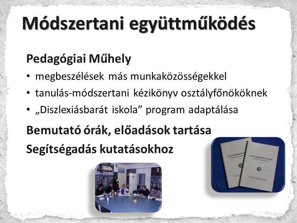 """Módszertani együttműködés Pedagógiai Műhely • megbeszélések más munkaközösségekkel • tanulás-módszertani kézikönyv osztályfőnököknek • """"Diszlexiásbará"""