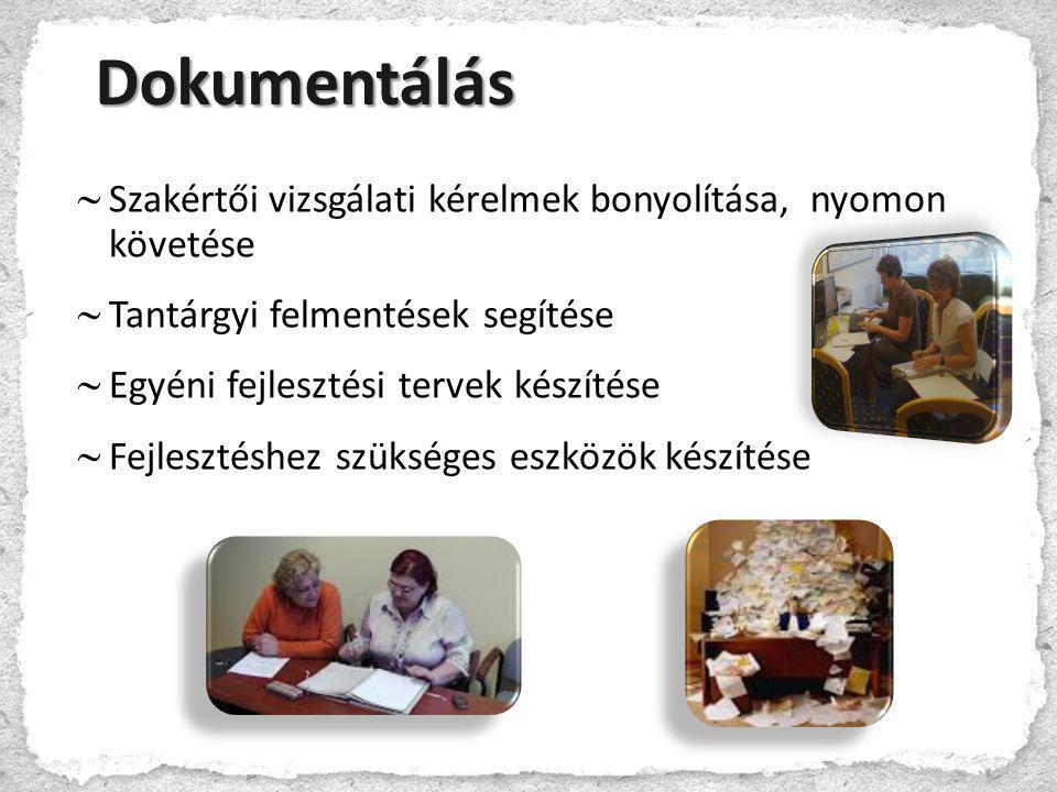  Szakértői vizsgálati kérelmek bonyolítása, nyomon követése  Tantárgyi felmentések segítése  Egyéni fejlesztési tervek készítése  Fejlesztéshez sz