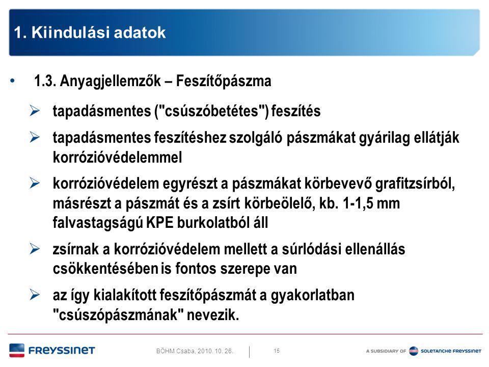 BÖHM Csaba, 2010. 10. 26. 15 1. Kiindulási adatok • 1.3. Anyagjellemzők – Feszítőpászma  tapadásmentes (