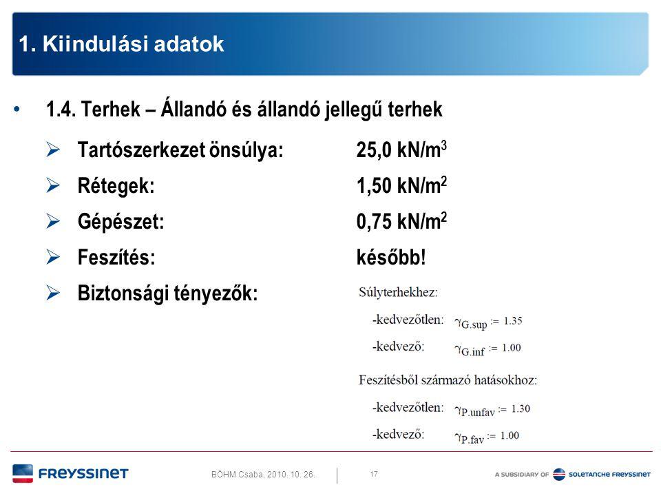 BÖHM Csaba, 2010. 10. 26. 17 1. Kiindulási adatok • 1.4. Terhek – Állandó és állandó jellegű terhek  Tartószerkezet önsúlya:25,0 kN/m 3  Rétegek:1,5