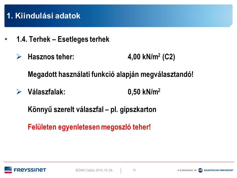 BÖHM Csaba, 2010. 10. 26. 18 1. Kiindulási adatok • 1.4. Terhek – Esetleges terhek  Hasznos teher:4,00 kN/m 2 (C2) Megadott használati funkció alapjá