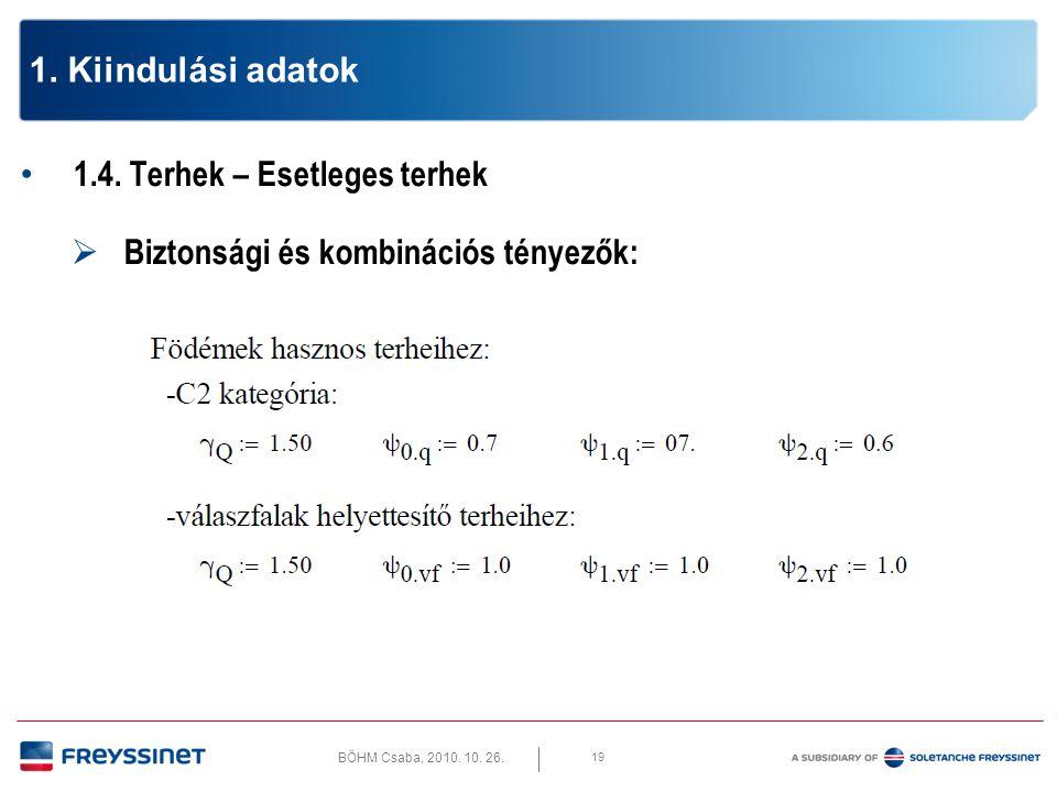 BÖHM Csaba, 2010. 10. 26. 19 1. Kiindulási adatok • 1.4. Terhek – Esetleges terhek  Biztonsági és kombinációs tényezők: