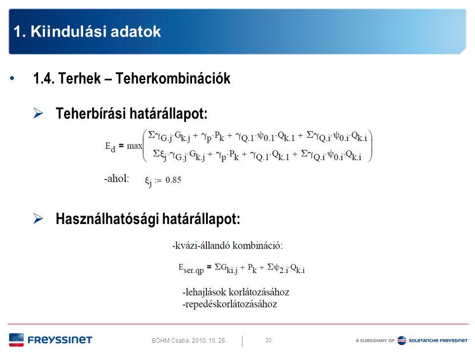 BÖHM Csaba, 2010. 10. 26. 20 1. Kiindulási adatok • 1.4. Terhek – Teherkombinációk  Teherbírási határállapot:  Használhatósági határállapot: