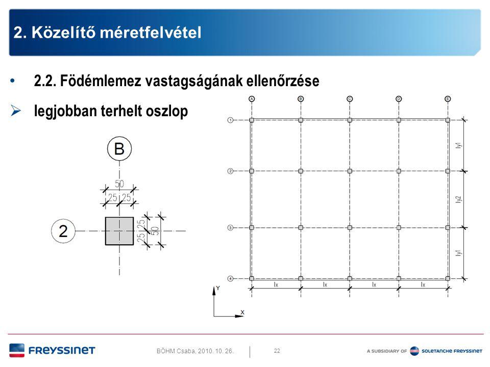 BÖHM Csaba, 2010. 10. 26. 22 2. Közelítő méretfelvétel • 2.2. Födémlemez vastagságának ellenőrzése  legjobban terhelt oszlop