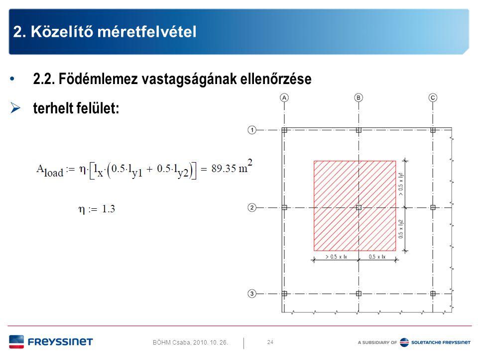 BÖHM Csaba, 2010. 10. 26. 24 2. Közelítő méretfelvétel • 2.2. Födémlemez vastagságának ellenőrzése  terhelt felület: