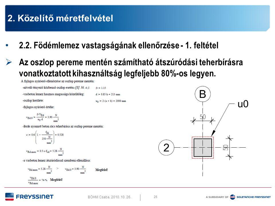 BÖHM Csaba, 2010. 10. 26. 25 2. Közelítő méretfelvétel • 2.2. Födémlemez vastagságának ellenőrzése - 1. feltétel  Az oszlop pereme mentén számítható