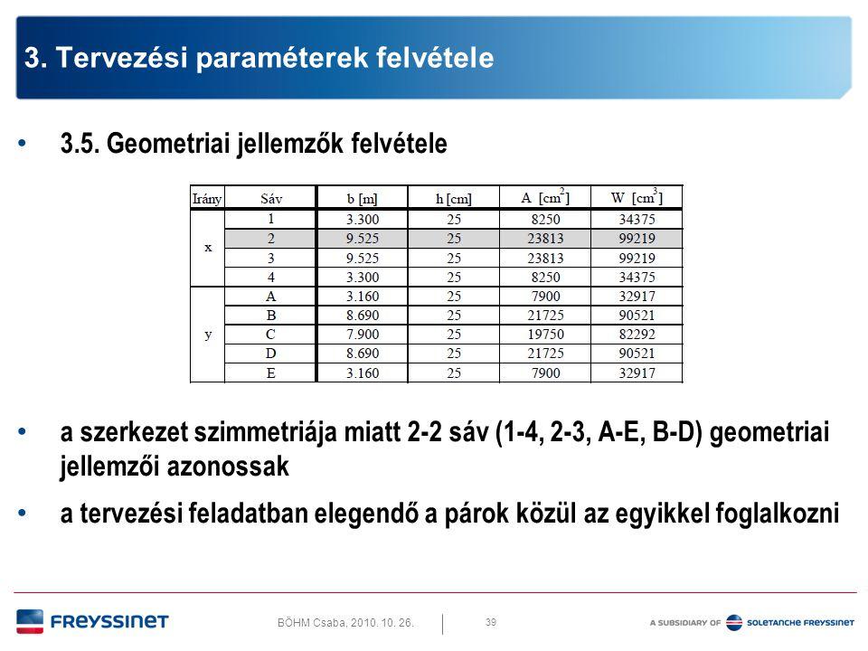BÖHM Csaba, 2010. 10. 26. 39 3. Tervezési paraméterek felvétele • 3.5. Geometriai jellemzők felvétele • a szerkezet szimmetriája miatt 2-2 sáv (1-4, 2