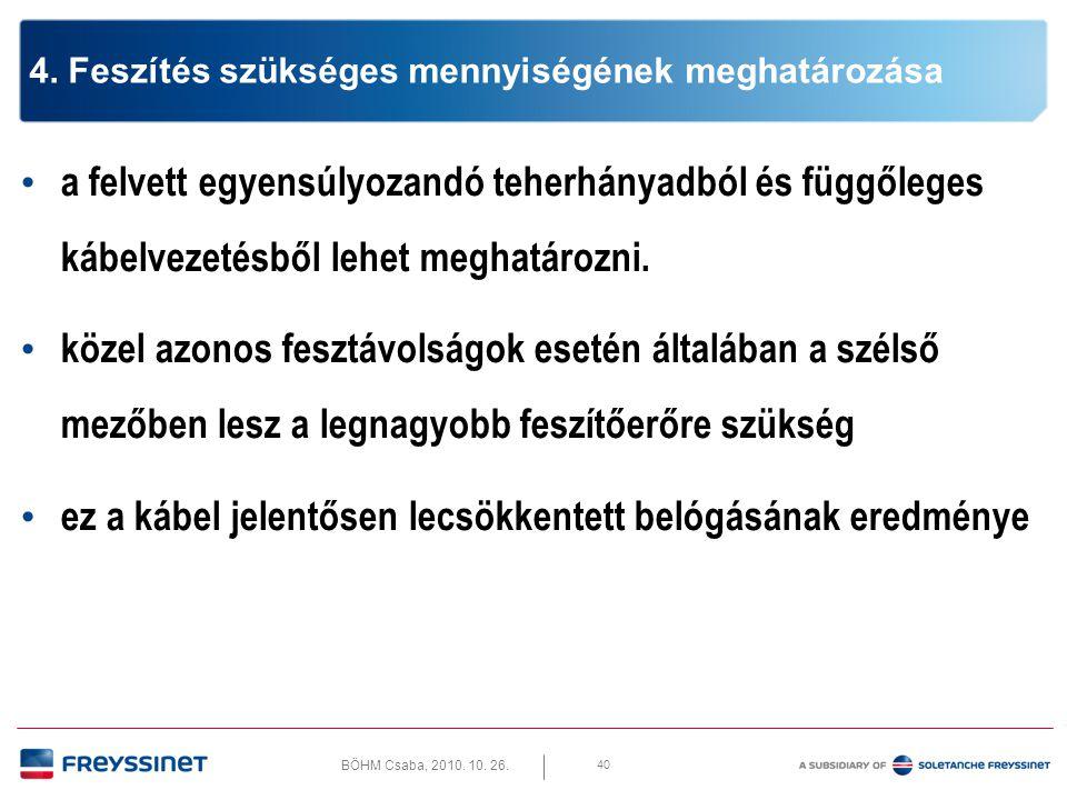 BÖHM Csaba, 2010. 10. 26. 40 4. Feszítés szükséges mennyiségének meghatározása • a felvett egyensúlyozandó teherhányadból és függőleges kábelvezetésbő