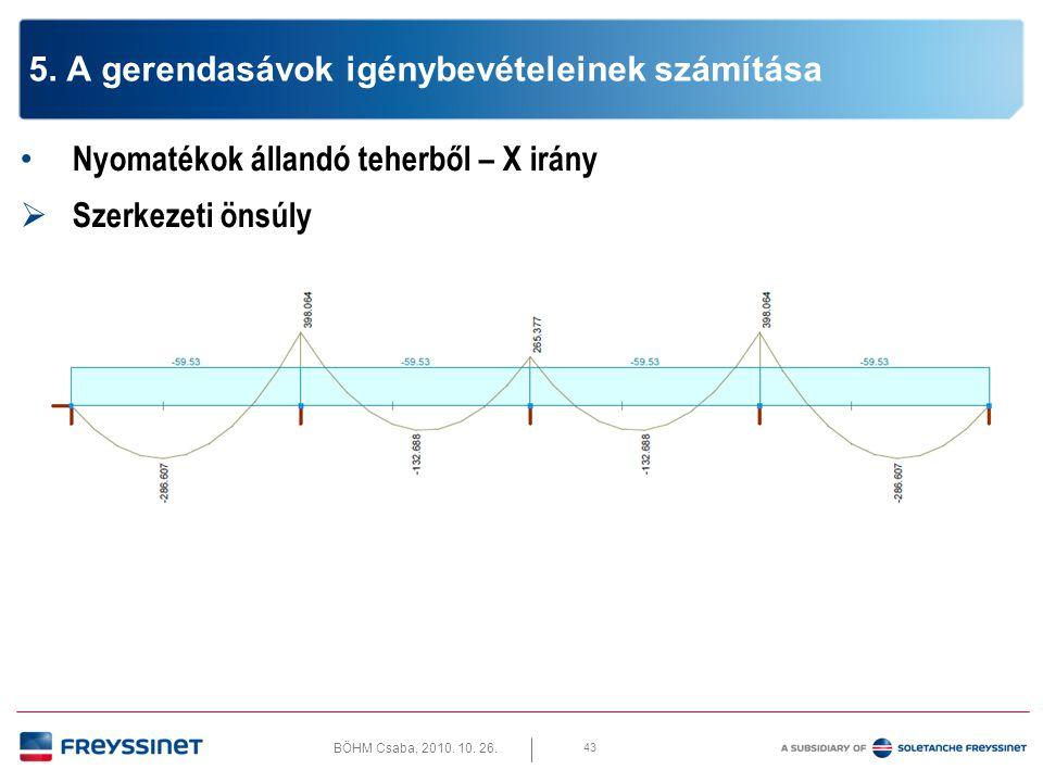 BÖHM Csaba, 2010. 10. 26. 43 5. A gerendasávok igénybevételeinek számítása • Nyomatékok állandó teherből – X irány  Szerkezeti önsúly