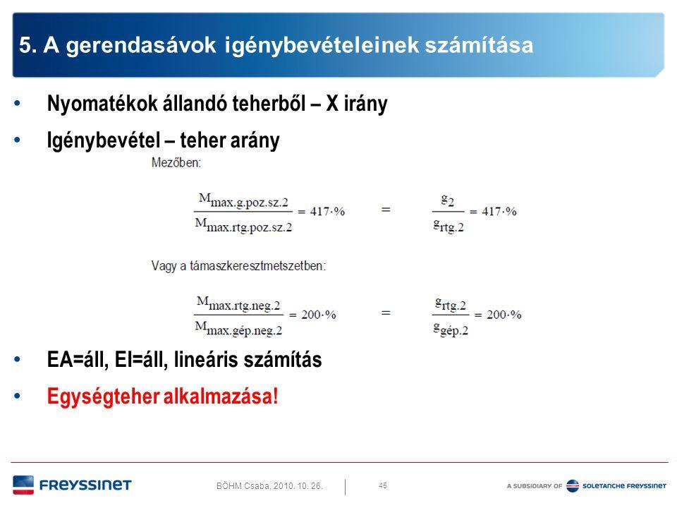 BÖHM Csaba, 2010. 10. 26. 45 5. A gerendasávok igénybevételeinek számítása • Nyomatékok állandó teherből – X irány • Igénybevétel – teher arány • EA=á