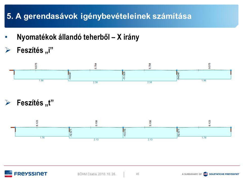 """BÖHM Csaba, 2010. 10. 26. 46 5. A gerendasávok igénybevételeinek számítása • Nyomatékok állandó teherből – X irány  Feszítés """"i""""  Feszítés """"t"""""""