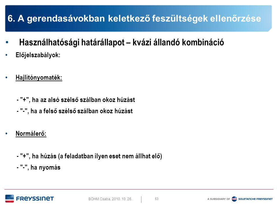 BÖHM Csaba, 2010. 10. 26. 53 6. A gerendasávokban keletkező feszültségek ellenőrzése • Használhatósági határállapot – kvázi állandó kombináció • Elője