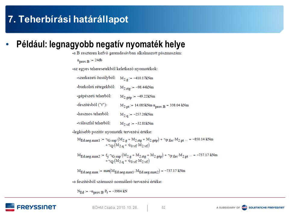 BÖHM Csaba, 2010. 10. 26. 62 7. Teherbírási határállapot • Például: legnagyobb negatív nyomaték helye