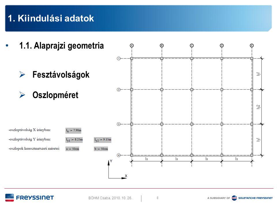 BÖHM Csaba, 2010. 10. 26. 8 1. Kiindulási adatok • 1.1. Alaprajzi geometria  Fesztávolságok  Oszlopméret