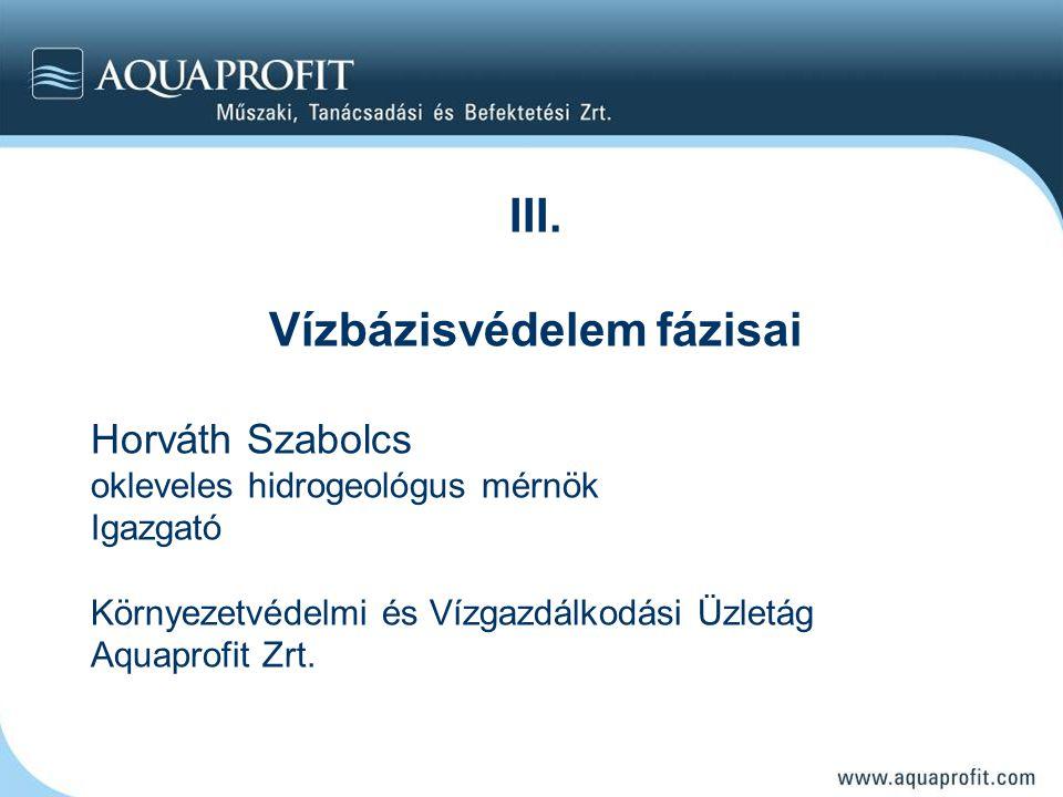 III. Vízbázisvédelem fázisai Horváth Szabolcs okleveles hidrogeológus mérnök Igazgató Környezetvédelmi és Vízgazdálkodási Üzletág Aquaprofit Zrt.