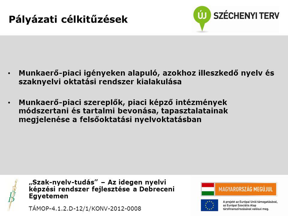 """Munkaerő-piaci elvárások a nyelvtudást illetően """"Szak-nyelv-tudás – Az idegen nyelvi képzési rendszer fejlesztése a Debreceni Egyetemen TÁMOP-4.1.2.D-12/1/KONV-2012-0008 • Szaknyelvi ismeretek • Hivatali levelezés • Kommunikációs készségek • Prezentációs készségek • Tárgyalástechnikák"""