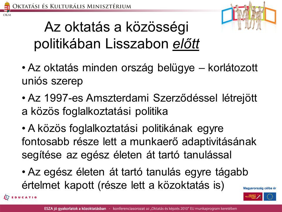 Az oktatás a közösségi politikában Lisszabon előtt • Az oktatás minden ország belügye – korlátozott uniós szerep • Az 1997-es Amszterdami Szerződéssel létrejött a közös foglalkoztatási politika • A közös foglalkoztatási politikának egyre fontosabb része lett a munkaerő adaptivitásának segítése az egész életen át tartó tanulással • Az egész életen át tartó tanulás egyre tágabb értelmet kapott (része lett a közoktatás is)